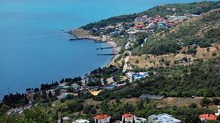 Вид на поселок Симеиз и Голубой залив