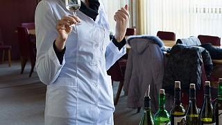 Экскурсовод Анастасия знакомит посетителей с правилами винного этикета