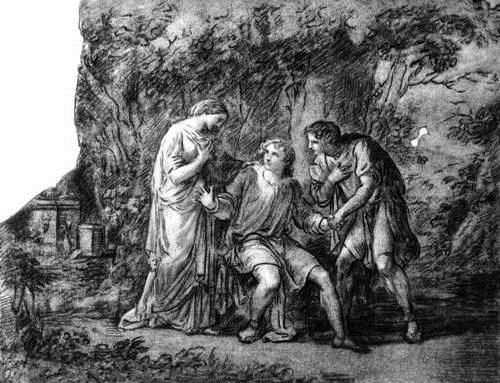 Кауфманн А. Ифигения в Тавриде (рядом с Ифигенией ее брат Орест и его друг Пилад). 1788