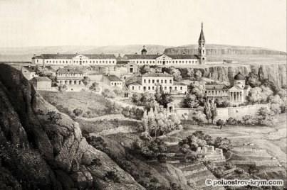 Балаклавский Георгиевский монастырь. Литография. 1862